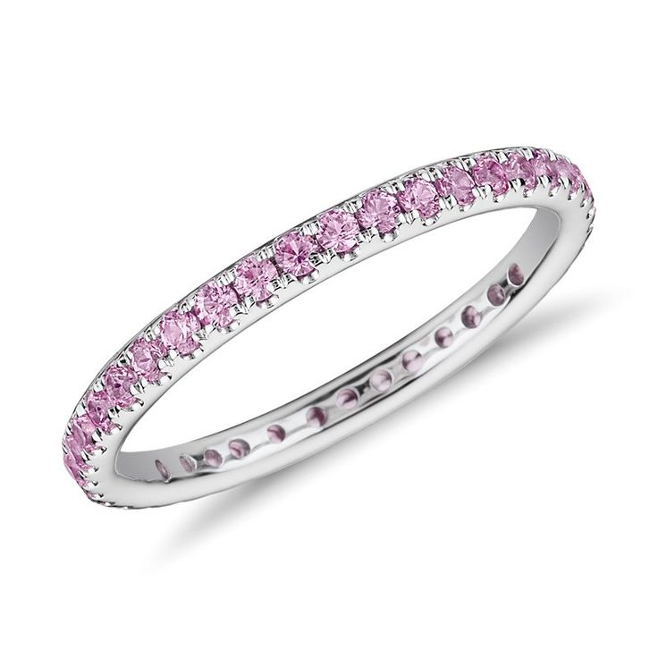 Riviera Pave Pink Sapphire Eternity Ring 18k White Gold (1.5mm), Women's, White Gold Sapphire