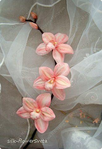 Мастер-класс: МК продолжение.Ветка орхидеи.Цветы из ткани Ткань. Фото 1