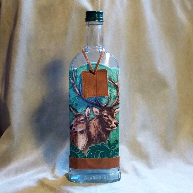 Fľaša pre poľovníka Jeleň a laň zelená
