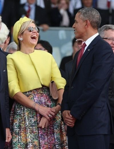 President Obama is totally cracking up Queen Máxima. Chic. ;) We need to know the punchline. June 6th 2014. #dutchroyals #greetingsfromnl