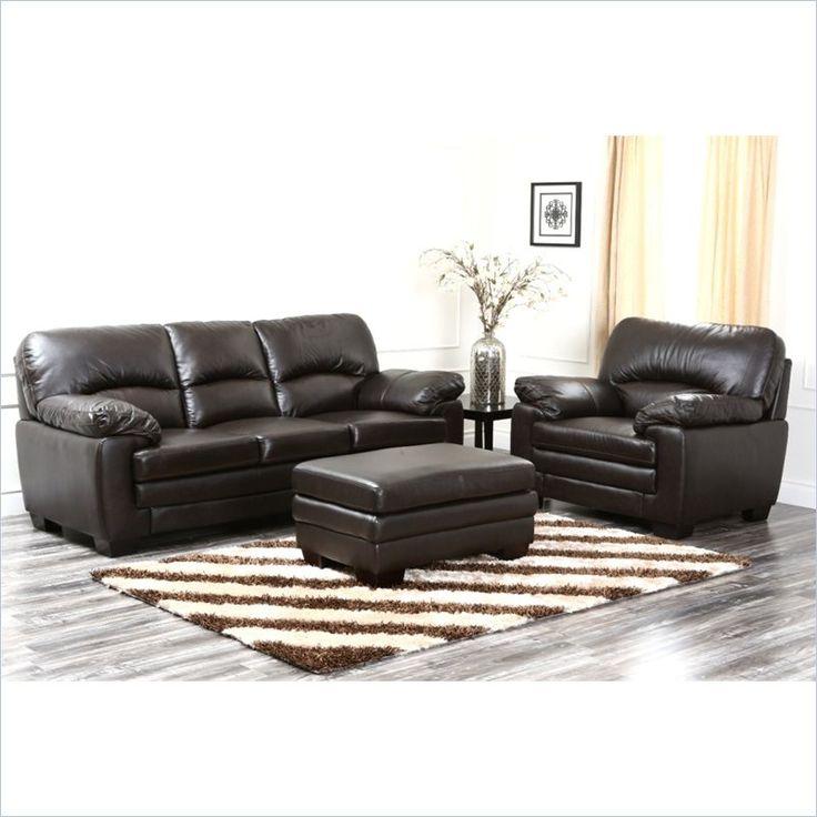 Abbyson Living Lalia 3 Piece Leather Sofa Set In Dark