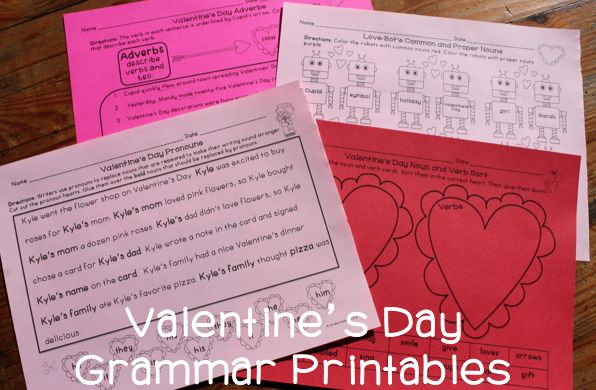 Valentine's Day Grammar Activities - Just print and go! Nouns, adverbs, verbs, pronouns, and more!