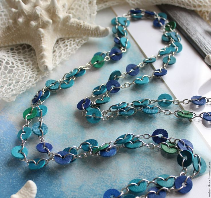 Handmade Long chain with skin the Sea inside... - sea, chain with leather