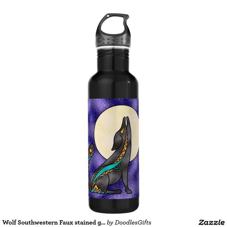 Wolf Southwestern Faux stained glass water bottle 24oz Water Bottle