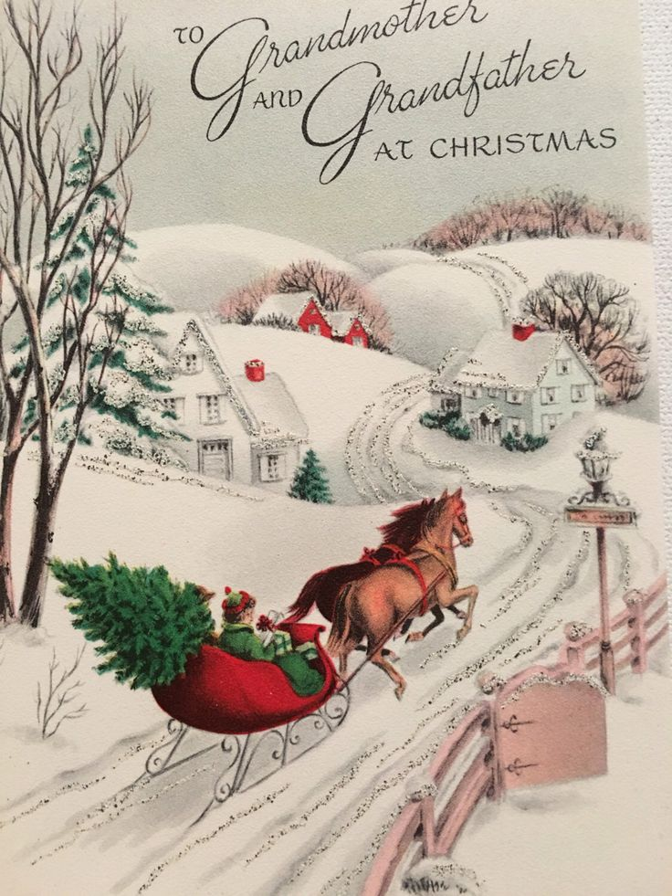 A personal favorite from my Etsy shop https://www.etsy.com/listing/463319116/vintage-christmas-card-pink-glitter