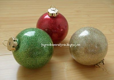 greenbean's crafterole: ALL THAT GLITTERS...MINUS THE MESS: Glitter Ornaments, Idea, Christmas Crafts, Glasses Ornaments, Diy Ornaments, Greenbean Crafterol, Christmas Ornaments, Diy Glitter, Diy Christmas