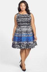 Gabby Skye Lace Print Fit & Flare Dress (Plus Size)
