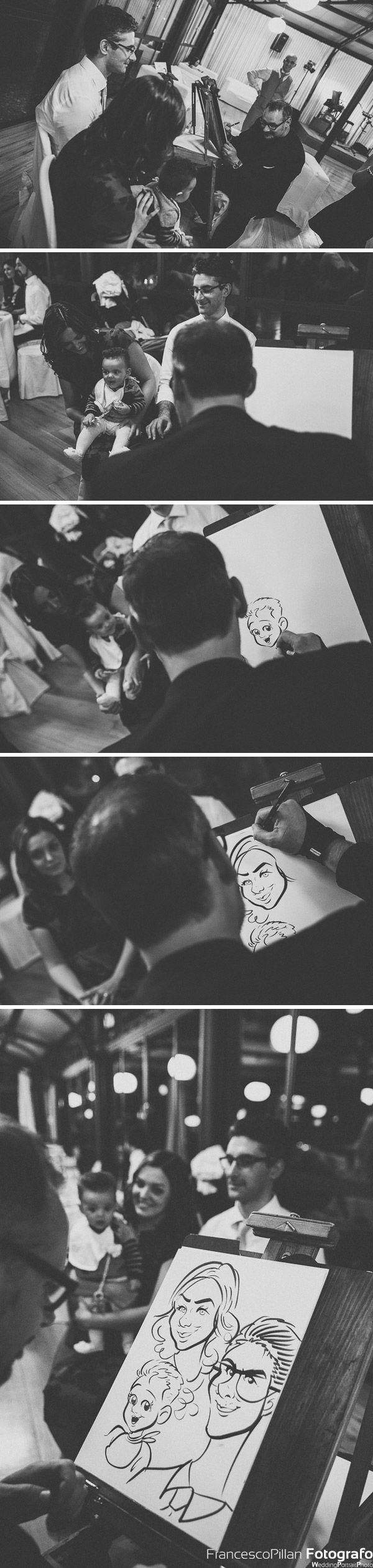 federico cecchin caricaturista matrimonio casa gobbato allieta la serata con le sue caricature