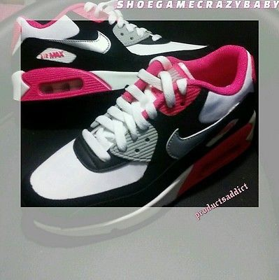 NIKE AIR MAX 90 PINK WHITE SILVER BLACK size 4.5 SUMMER classic retro style