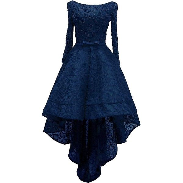 Rongstore Women's High Low Lace Prom Party Dresses with Long Sleeve ($110) ❤ liked on Polyvore featuring dresses, blue homecoming dresses, blue dress, lace dress, long sleeve homecoming dresses and lace cocktail dress
