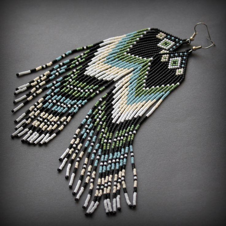Схема серег из бисера Beaded earrings free pattern