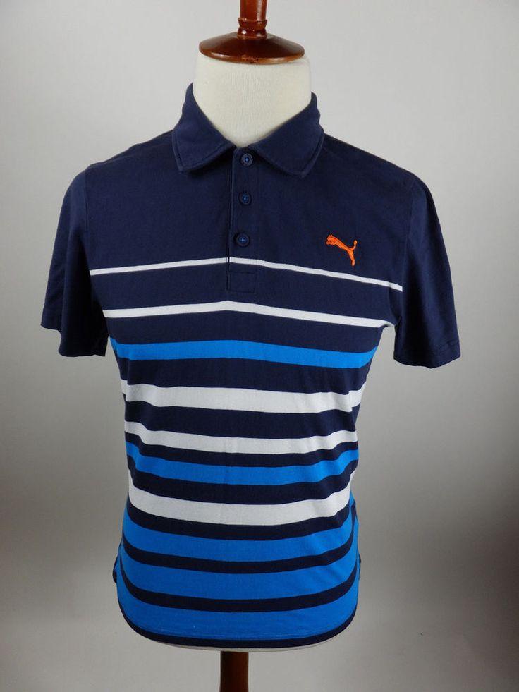Puma Polo Rugby Short Sleeve Blue Stripe Sport Shirt
