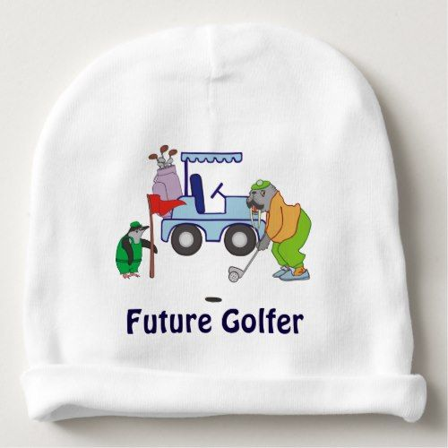 Personalized Walrus Golf Penguin Caddie Baby Beanie
