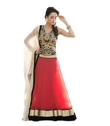 Buy Red georgette embroidered unstitched lehenga choli lehenga-choli online