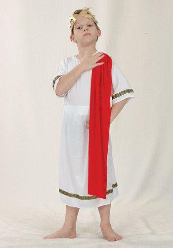 Romeins kostuum voor kinderen. Romeinse keizer kostuum voor kinderen in het wit met rood en gouden details. Accessoires in Romeinse stijl zijn ook in onze webshop verkrijgbaar. Carnavalskleding 2015 #carnaval