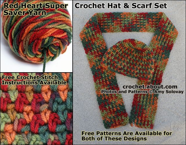 Photos of Crochet Projects Made Using Variegated Yarns: Moss Stitch Crocheted Hat and Scarf Set