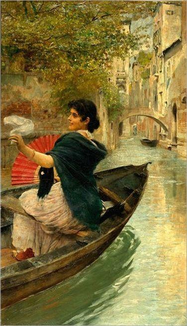 Manula can´t find her balls, as seen : Ettore Tito - Veneziana in gondola...A-ha-ha :))) 250 kg of pure decay Ph of Manu in gondola - gimme a break...! A -ha-ha :))) Not in the canal , swine de Portuga !