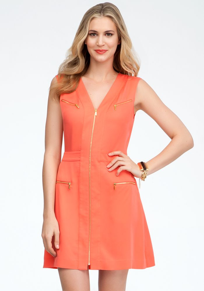 Multi Pocket Zipper Front Dress - Hot Coral - S