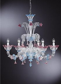 Chandelier pink and light blue colors