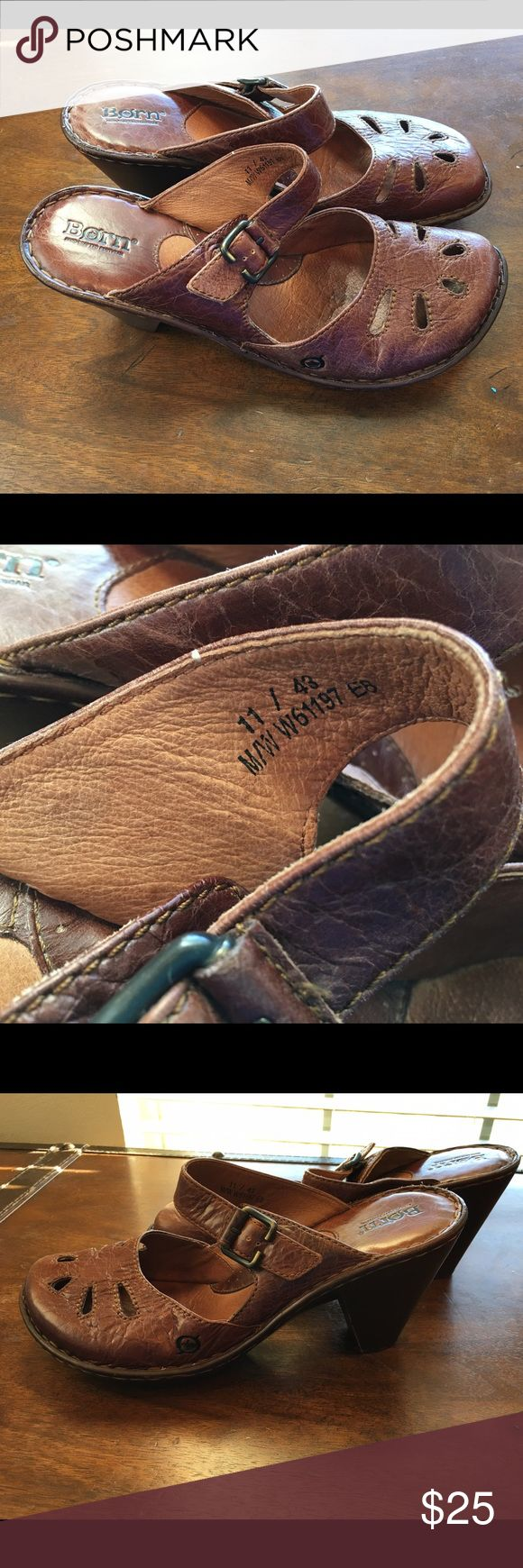 Born brown leather slip on mule clog Sz 11 Super cute leather slip on Born shoes.  Womens size 11 Born Shoes Mules & Clogs