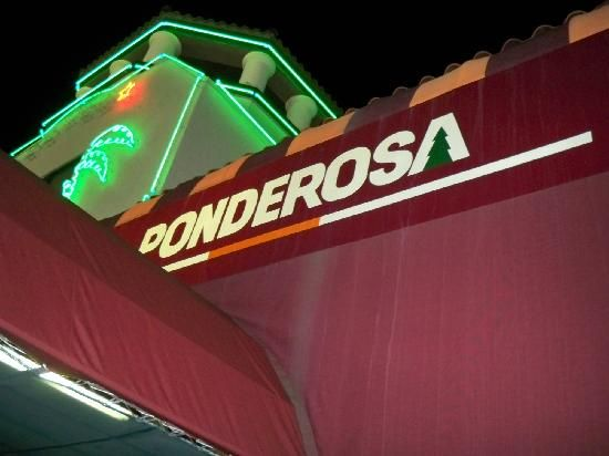 Ponderosa Steak House on International Drive Florida- worth it for the never forgotten cinnamon breakfast muffins at 7 a.m