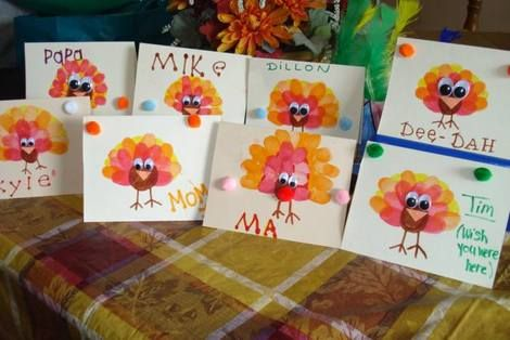 Thanksgiving place cards.    Use kid thumb & finger prints for the feathers.  Make it 3D by adding pompom for nose or folded triangle for beak, and eyes.  (If extended family comes on Wed...have each make his/her own... fun craft.)