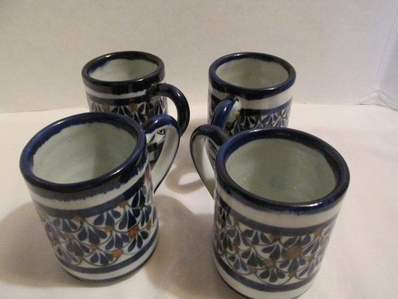 Stoneware blue coffee mugs made in Mexico lot by FredsDiscoveries