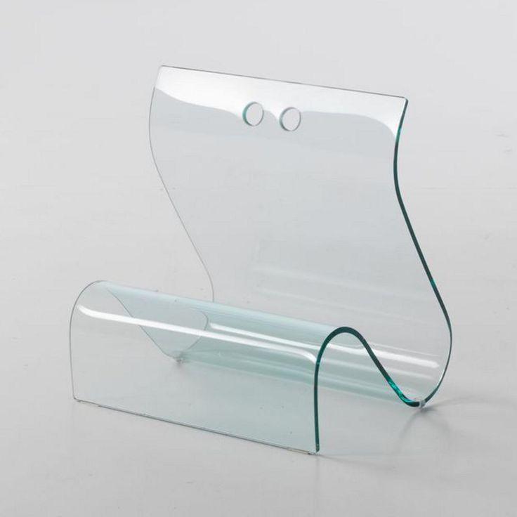 Portariviste in vetro curvato ONDA 40x35xh42 cm spessore 8 mm colore trasparente | Stilcasa-new | Stilcasa.Net: portaoggetti ufficio