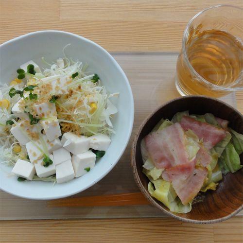 定番のお豆腐サラダにキャベツベーコン(^^)シリコンスチーマーで簡単おいしくできました!