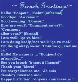 32 best learn some words in french images on pinterest learn french greetings also if youd like to say im sick m4hsunfo Choice Image