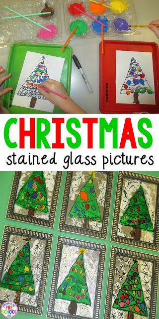 Perfect child made gift I can do in my classroom with students! How to make Christmas stained glass pictures.
