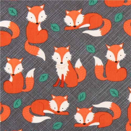 charcoal grey fox fabric Timeless Treasures  2