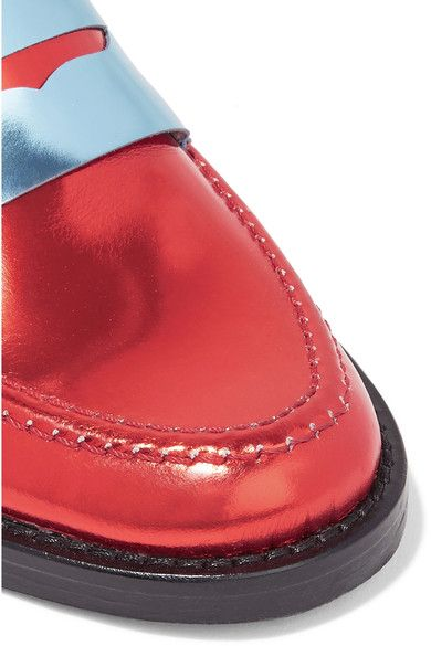 MR by Man Repeller - The Alternative To Bare Feet Metallic Leather Loafers - Red - IT40.5