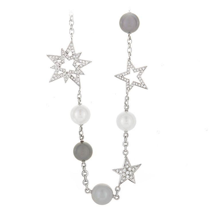 Chanel Perles et Etoiles White Gold Collar Necklace | 1stdibs.com