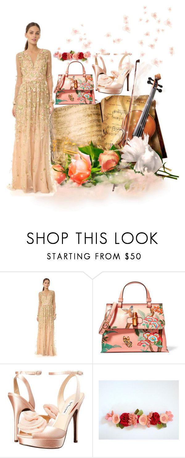 """""""peach"""" by aries-indonesia ❤ liked on Polyvore featuring Notte by Marchesa, Gucci and Nina"""