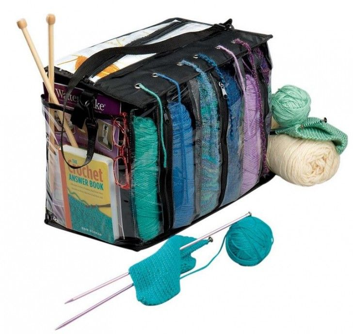 The Miles Kimball Knitting Tote Bag is perfect for crochet too! This yarn tote bag features individual, see-through compartments that hold up to 6 skeins. Thread yarn through lid grommets to prevent tangling and fraying. Roomy pockets store hooks, needles, gauges, pattern books, eyeglasses and more. Carrying strap and zip closure too!
