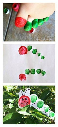 The Very Hungry Caterpillar Toe Print Craft For Kids