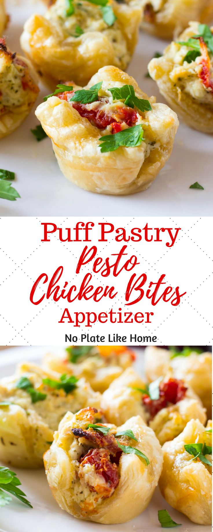 Puff Pastry Pesto Chicken Bites Appetizer is a delicious hot hors d'ouevres to serve your party guests. They are flavorful and filling so you won't have to make a lot of apps. Easy-to-make in just 30 min with leftover chicken. Pin for later.
