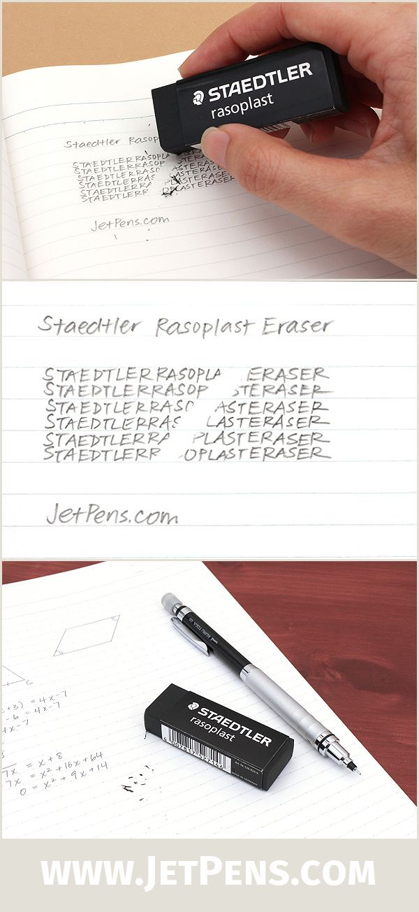 If graphite stains bother you, the new Staedtler Rasoplast Eraser is the solution! The black material keeps your eraser looking clean, and it erases with minimal crumbling.