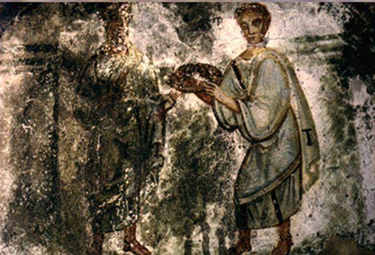 Catacombe di San Gennaro, Napoli. Affresco. V secolo. San Paolo e il defunto Lorenzo