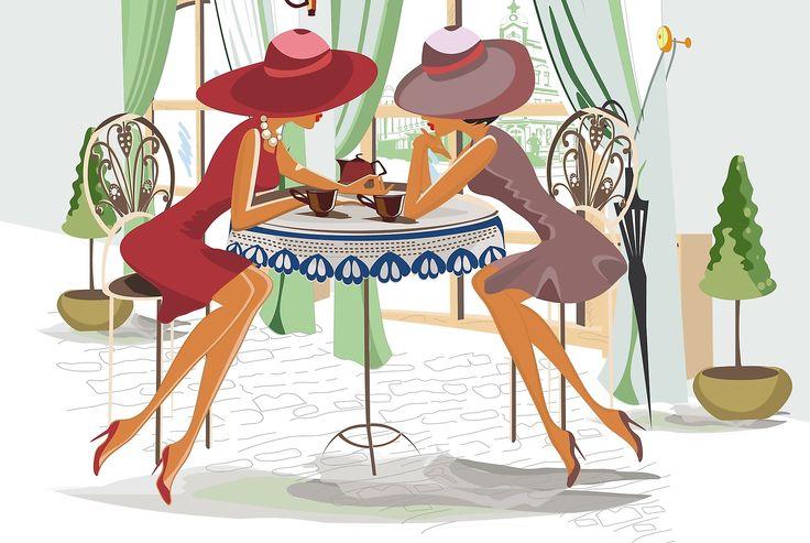 девушка в кафе рисунок - Поиск в Google
