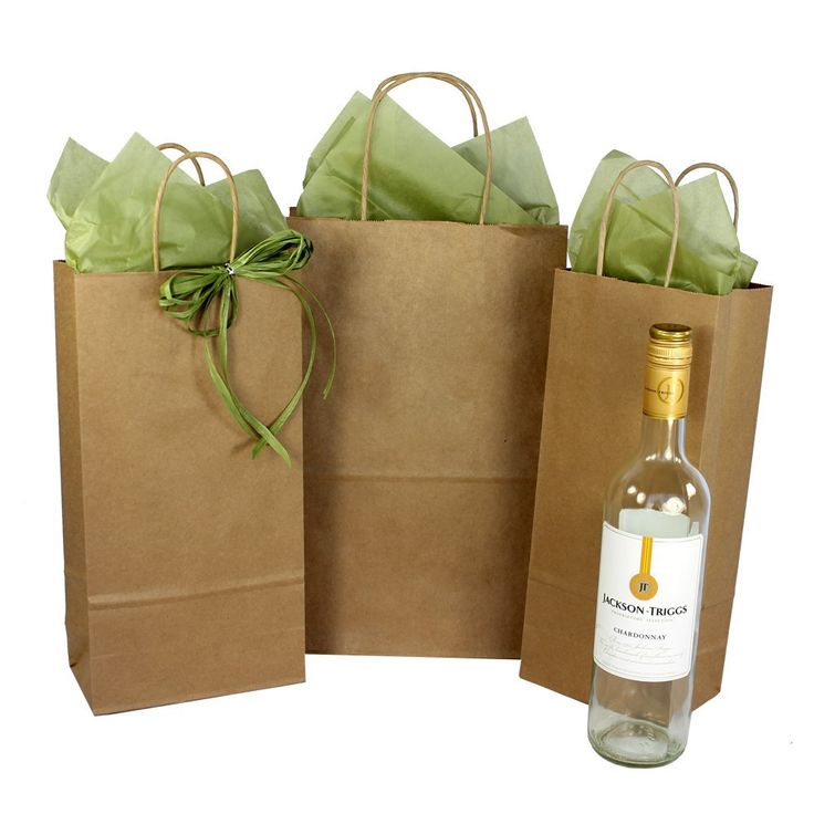 Bottle/Wine Paper Bags Natural Kraft - Twisted Paper Handles