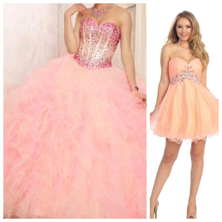 beautiful peach and pink combination quincea241era dress and
