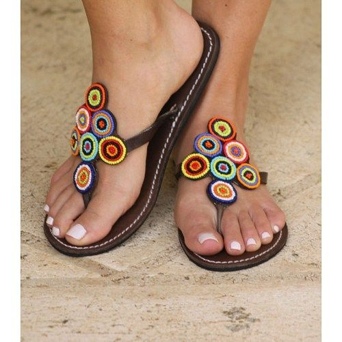 african  leather beaded sandal from The African Market on ArtFire