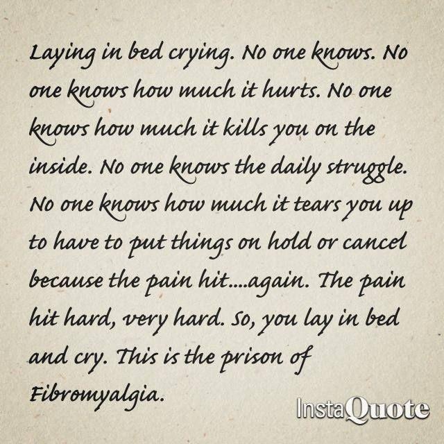 No One Knows... FIBROMYALGIA & many other Chronic Pain disease!