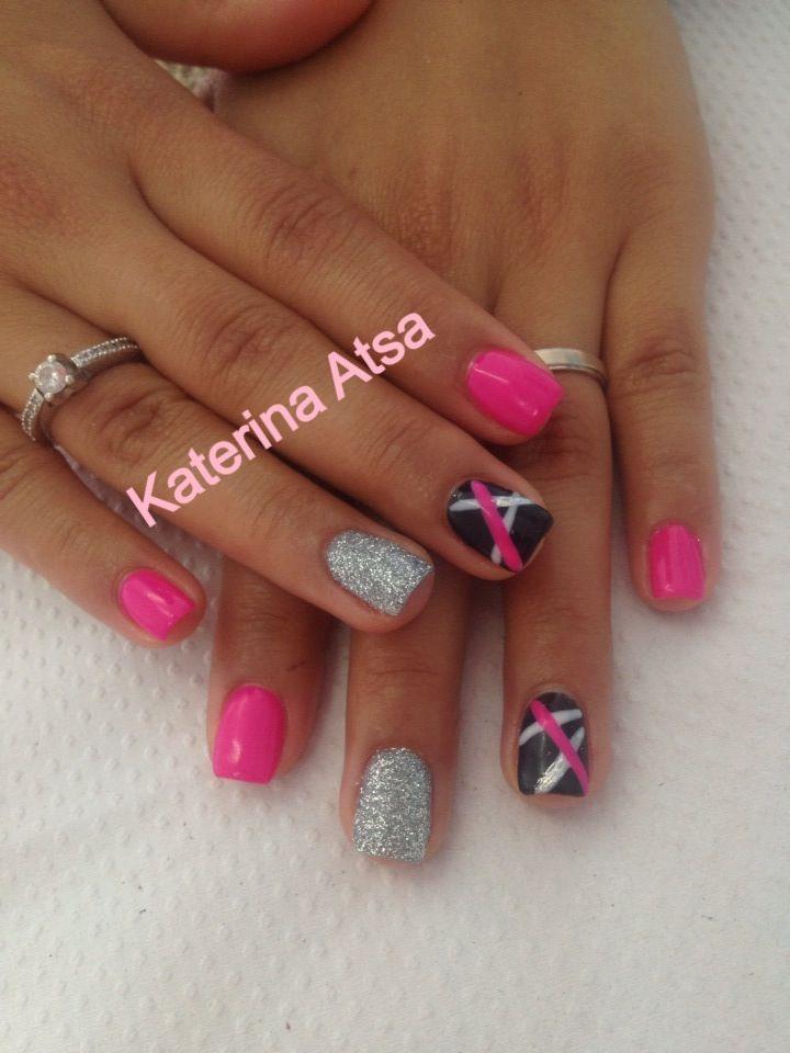 Permanent Color  ❤❤ #pink #silver #glitter #black #stripes #nails #nailgasm #nailgasm #nailporn #nailsmag #nailartist #nailartwow #nailsoftheday
