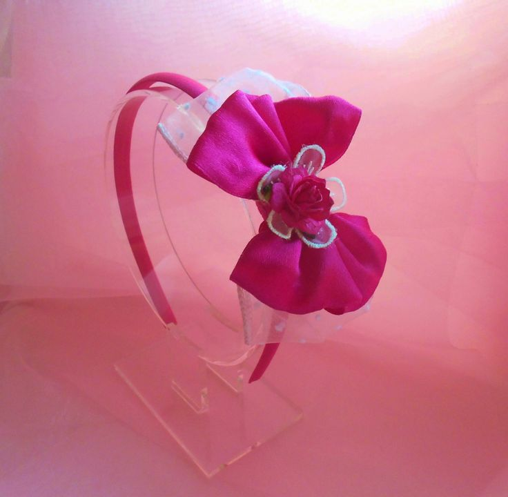 Fuchsia Satin Plastic Headband - Resin Fabric Bow Headband - Girls - 3 years and up - Free Shipping by MaPetiteDiva on Etsy