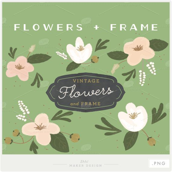 Vintage Flowers & Frame  PNG Files  Digital  by ShhMakerDesign