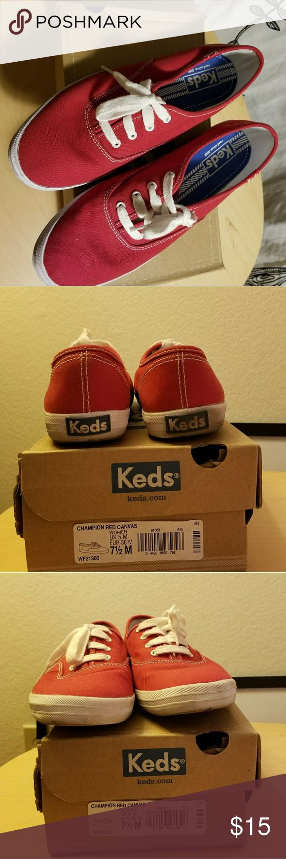 Red Keds Sneakers Lightly worn Keds Sneakers. Visible worn on back heels (second picture) other than that, in good condition. Fun to wear! Keds Shoes Sneakers