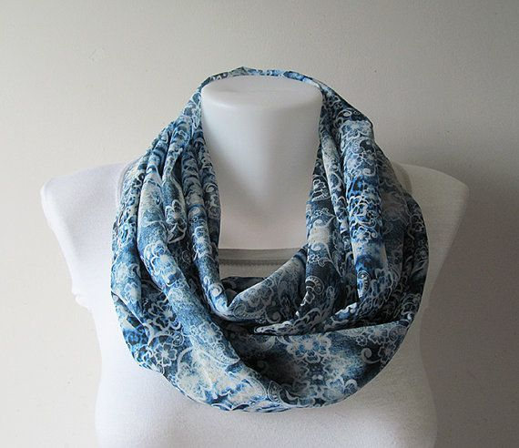 Blue Floral Infinity Scarf Chiffon Infinity by NaryasSewingCorner